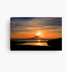 Sunset From Degibna Over Loe Bar, Cornwall Canvas Print