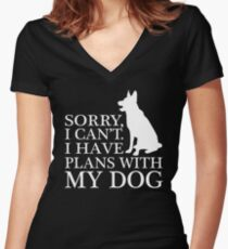 Sorry, I Can't. I Have Plans With My Dog. German Shepherd T-shirt Women's Fitted V-Neck T-Shirt