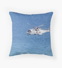 Navy Helicopter and Ship Throw Pillow