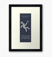 Arrow in the knee book mark Framed Print