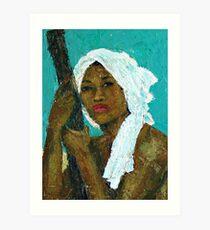 Black Lady with White Head-dress Art Print
