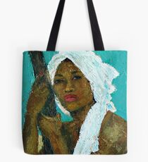 Black Lady with White Head-dress Tote Bag