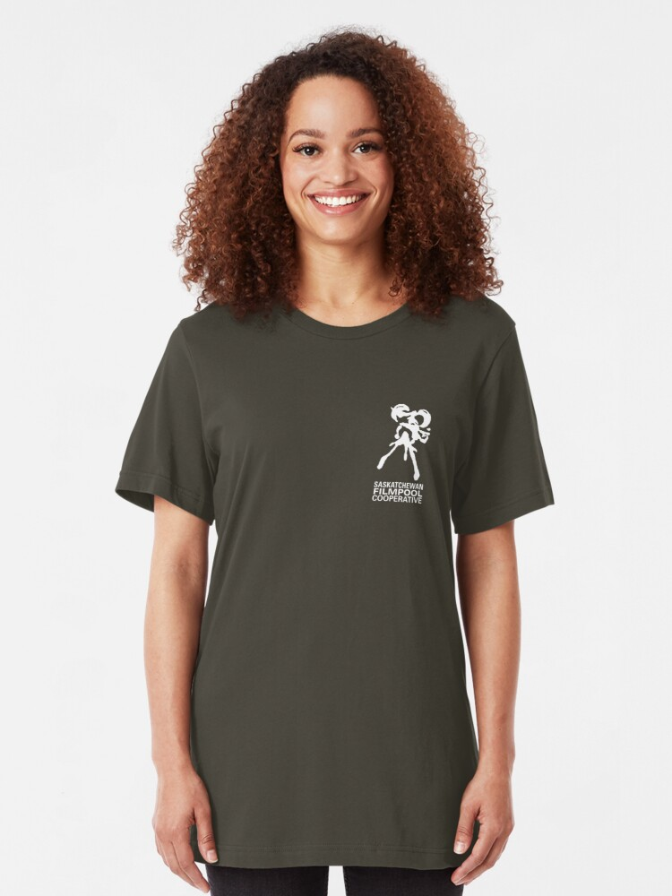 Alternate view of Saskatchewan Filmpool Cooperative logo over the heart 2 - white Slim Fit T-Shirt