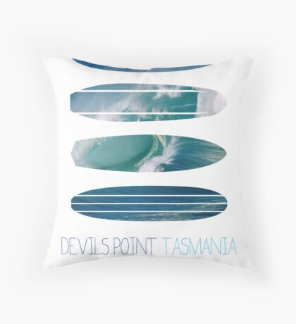 My Surfspots poster-5-Devils-Point-Tasmania Throw Pillow