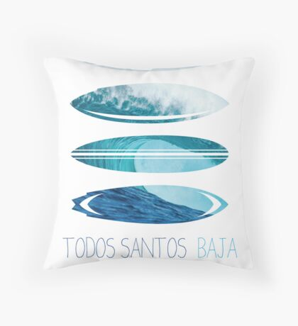 My Surfspots poster-6-Todos-Santos-Baja Throw Pillow