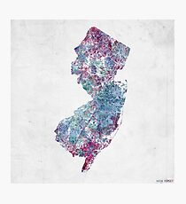 new jersey map cold colors Photographic Print