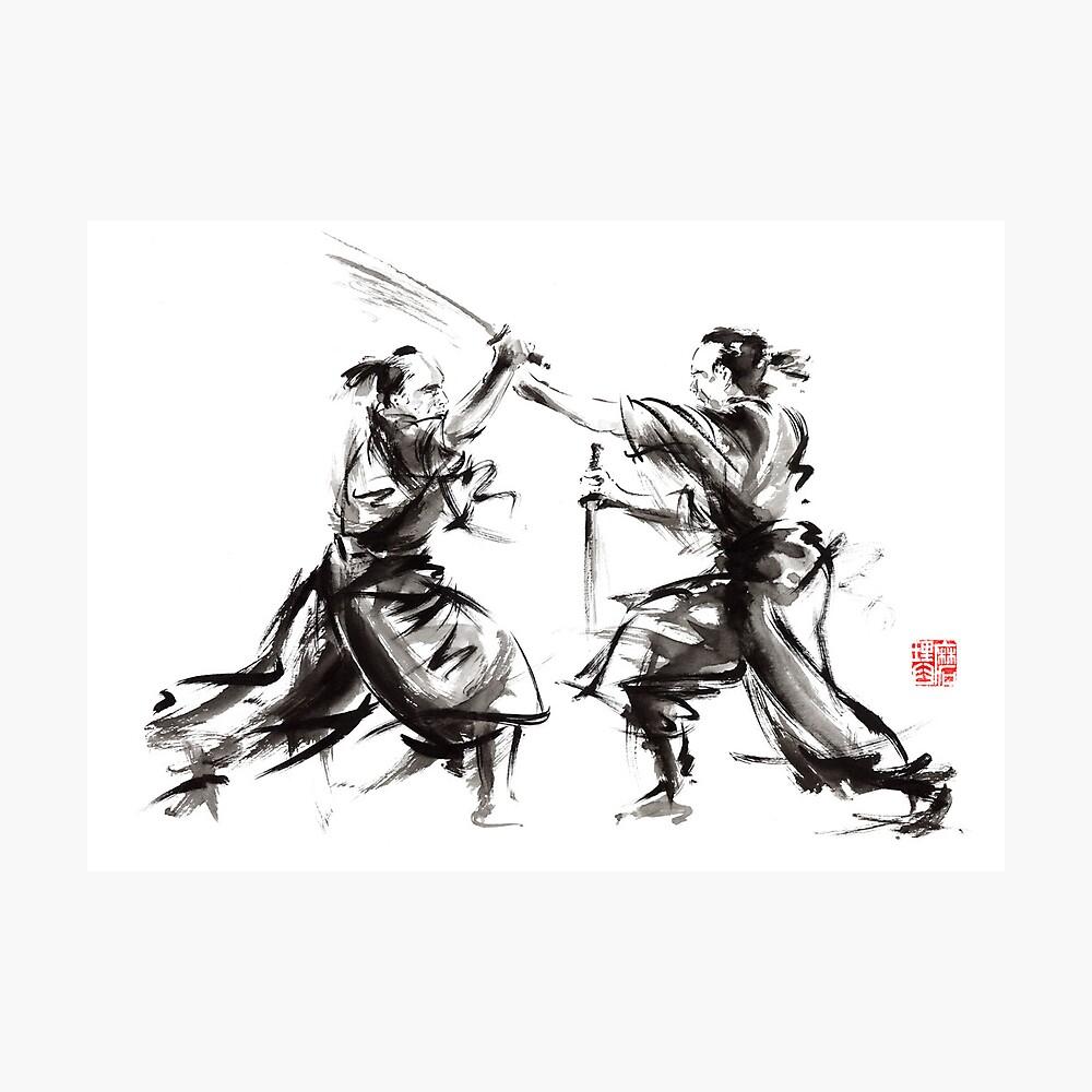 Samurai sword bushido katana martial arts budo sumi-e original ink sword painting artwork Fotodruck