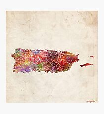 puerto rico map warm colors Photographic Print