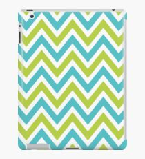 Chevrons, Zigzag Background Blue, Green iPad Case/Skin