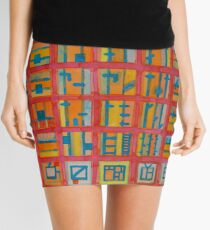 Red Grid with House Technic and Supply  Mini Skirt