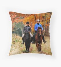 Going on a late autumnal ride Throw Pillow