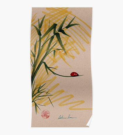 """""""Take A Chance""""  Sumi-e Ink Brush Pen Ladybug Painting Poster"""
