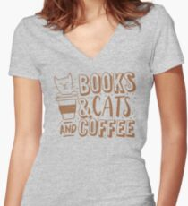 BOOKS and CATS and COFFEE Women's Fitted V-Neck T-Shirt