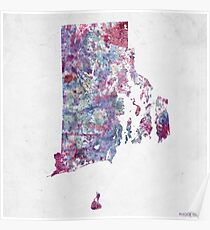 rhode island map cold colors Poster