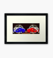 Volkswagen Combi Duo Blue & Red  Framed Print