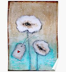 Flowers in the snow Poster