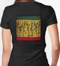 lively reggae dancers (square) Women's Fitted V-Neck T-Shirt
