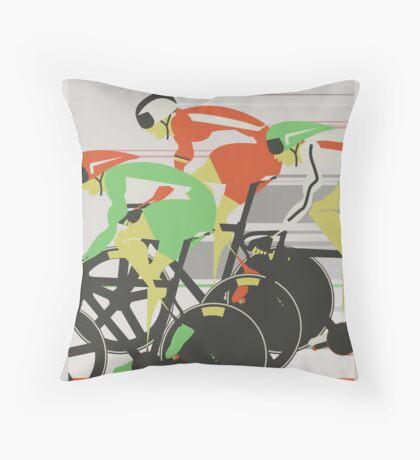 Velodrome bike race Throw Pillow