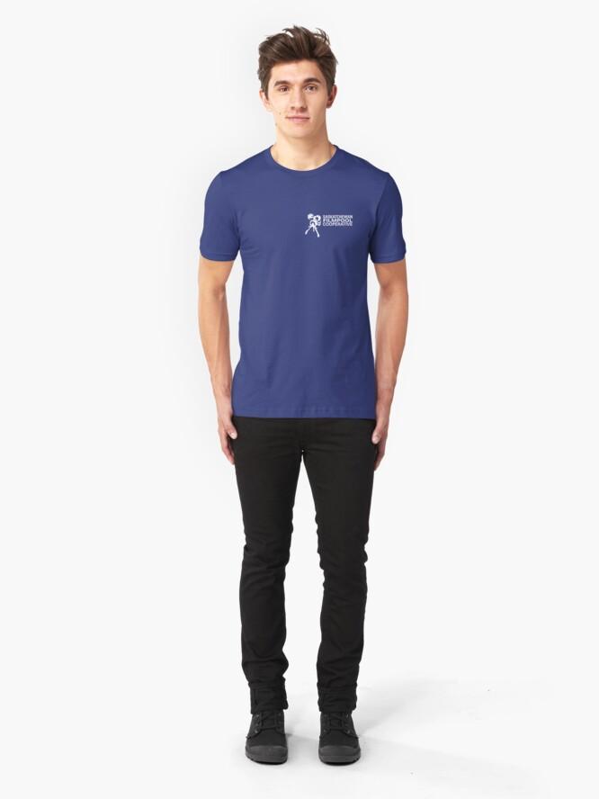 Alternate view of Saskatchewan Filmpool Cooperative logo over the heart 1 - white Slim Fit T-Shirt