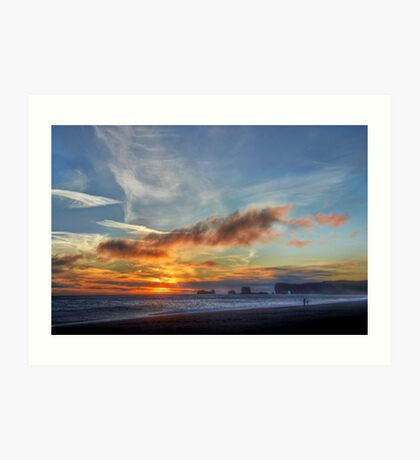 Sunset at Dryholaey Art Print