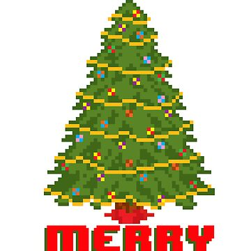Merry Christmas Tree - V:IPixels Holiday Collection by WizWorldInc