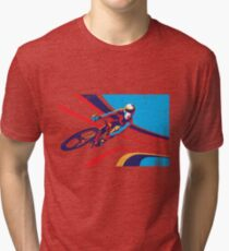 retro track cycling print poster Tri-blend T-Shirt