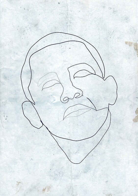 Single Line Face Drawing : Quot barack obama one line drawing framed prints by borol