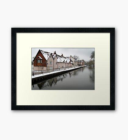 West Mills - Newbury, in Snow Framed Print
