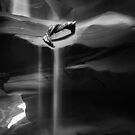 Sand Fall at Antelope Canyon in Black and White by Barbara Burkhardt