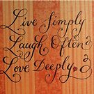 Live love laugh quote calligraphy art by Melissa Goza