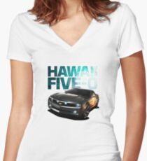 Hawaii Five-O Black Camaro (White Outline) Women's Fitted V-Neck T-Shirt
