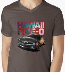 Hawaii Five-O Black Camaro (Red Outline) Men's V-Neck T-Shirt