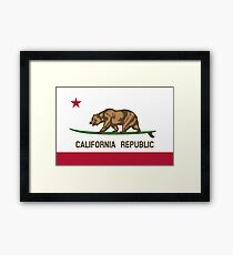 Surfing California Bear Framed Print