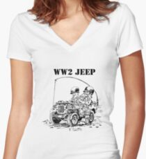 WW2 jeep Women's Fitted V-Neck T-Shirt