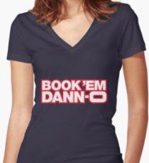 BOOK 'EM DANN-O! Women's Fitted V-Neck T-Shirt