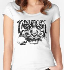 Tiger, big cat, hunter and predator Women's Fitted Scoop T-Shirt