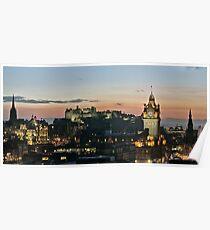 Balmoral Clocktower and Edinburgh Castle at Dusk Poster