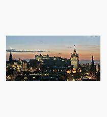 Balmoral Clocktower and Edinburgh Castle at Dusk Photographic Print