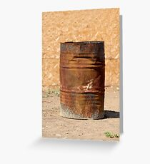 Open rusty iron barrel Greeting Card