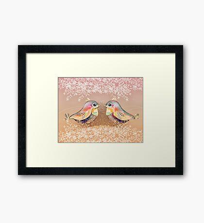 Exotic Peach Lovebirds Framed Print