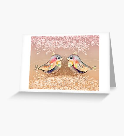 Exotic Peach Lovebirds Greeting Card
