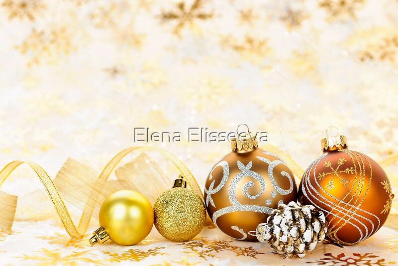 quotgolden christmas ornaments backgroundquot greeting cards by