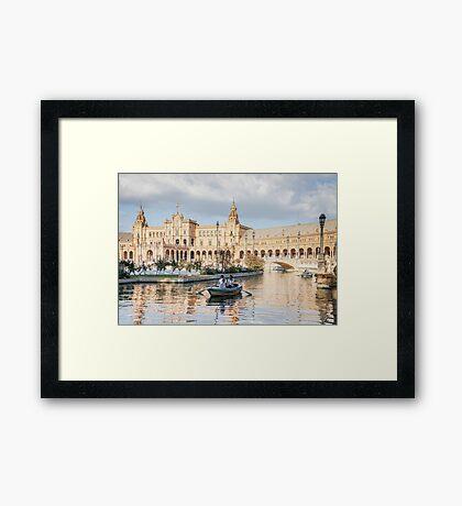 Boating in Plaza de Espana - Seville Framed Print