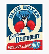 Blue Boxer Dog Champion Detergent Retro Poster- original art Photographic Print