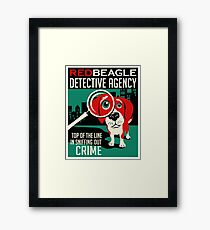 Red Beagle Detective Agency Retro Poster- original art Framed Print