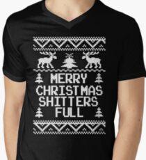 Merry Christmas Shitters Full Ugly Christmas Sweater Men's V-Neck T-Shirt