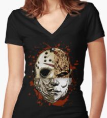 HORROR MASHUP Women's Fitted V-Neck T-Shirt