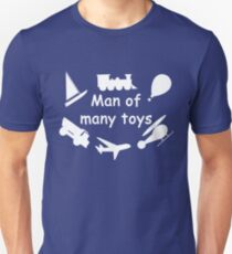 Man of many toys white Unisex T-Shirt
