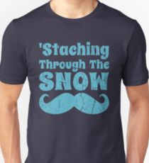 Staching Through The Snow Funny Mustache Unisex T-Shirt