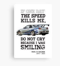 Paul Walker Tribute GTR - Halftone Canvas Print